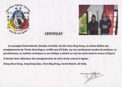Enseignement reconnu et certifié par Daniel Belotti.